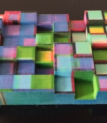 First prototype of a 3D model in full color sandstone.